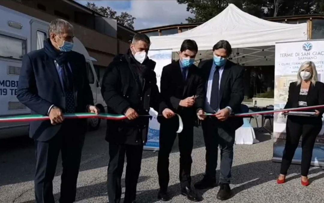 Il Presidente Acquaroli inaugura l'unità mobile per test anti-Covid delle Terme di Sarnano